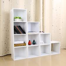 4 Shelf Bookcase White by Amazon Com Wooden Bookcase Shelf 4 Tier Bookcases Cube Shelving