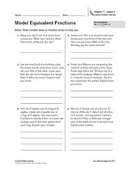 Math Worksheet   Model Equivalent Fractions Number Lines or Fraction Strips  th Equivalent Fractions On A lbartman com