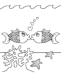 kissing fish free coloring pages kids printable colouring
