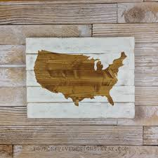 Big Map Of The United States by United States Map Wood Plank Sign Home Decor Rustic Art