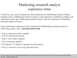 Research Analyst Sample Resume by Marketingresearchanalystexperienceletter 140822104951 Phpapp02 Thumbnail 4 Jpg Cb U003d1408704616