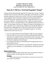 How Do I Write a Classification Division Essay    Wheeling Jesuit     How Do I Write a Position Argument Essay    Wheeling Jesuit