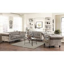 living set abbyson grand chesterfield gray velvet sofa set hayneedle