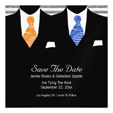 Suit and Tie Gay Save The Date Mr  amp  Mr Wedding Magnetic Card Zazzle