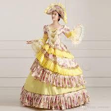 18th Century Halloween Costumes Customized 2016 Retro Yellow Floral Print 18th Century Victorian