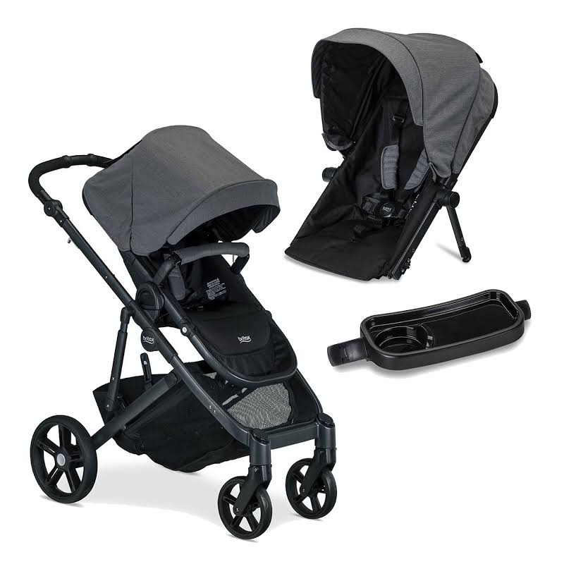 Britax B Ready G3 Folding Baby Stroller, Snack Tray, And Second Seat Conversion