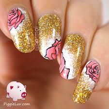 piggieluv gold glitter with pink roses nail art