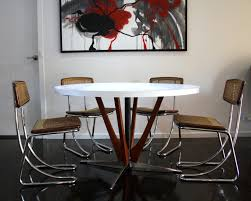 Teak Dining Room Table And Chairs by Mid Century Teak U0026 Laminex Dining Table Chrome Cane Rattan