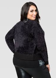 Plus Size Cropped Cardigan Furry Zip Front Cropped Cardigan Plus Size Jackets Ashley Stewart