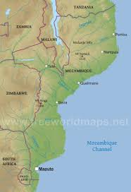Physical Map Of Africa by Mozambique Physical Map