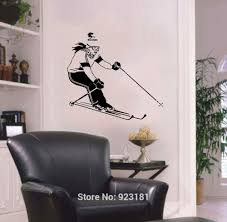 popular removable wall murals winter buy cheap removable wall extreme sport girl skiing winter sportswoman wall art sticker decal home diy decoration wall mural removable