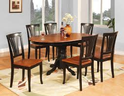 Teak Dining Room Table And Chairs by Oval Shape Pedestal Dining Table For 6 With Brown Painted Also
