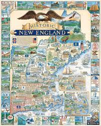 Map Of The New England States by Historic New England Puzzle White Mountain Puzzles