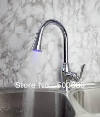 novel design single handle kitchen swivel sink led faucet spray