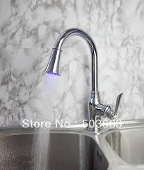 novel design single handle kitchen swivel sink led faucet spray