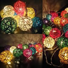 rattan ball 5cm 20 leds diy colourful xmas fairy string lights