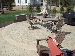 Backyard Cement Patio Ideas by Stamped Concrete Patio With An Ashlar Slate Pattern Colors Beige