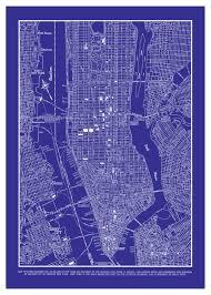 Street Map Of New York City by 1944 New York City Manhattan Street Map Vintage Blueprint 20x30