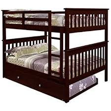 amazon com bunk bed full over full with trundle in cappuccino