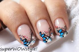 french tip beautiful abstract nail designs flower nail art