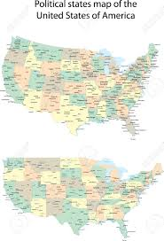 United States Map by Vector Political States Map Of The United States Of America