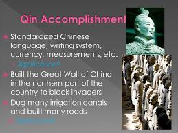 Take out your homework    Your Zhou Dynasty poetry MASTERPIECE     Standardized Chinese language  writing system  currency  measurements  etc      Significance