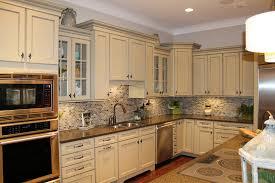kitchen backsplash ideas white cabinets brown countertop small