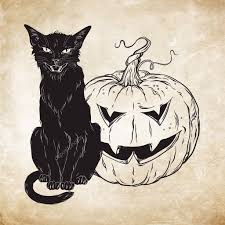 black cat sitting with halloween pumpkin over old grunge paper