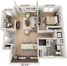 floor plan of one bedroom apartment with design picture 25255
