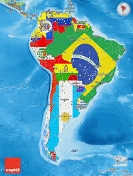 Political Map Of Latin America by Flag Map Of South America Political Outside