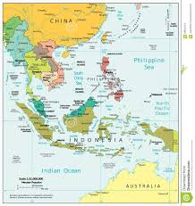 Southeast Map Southeast Asia Region Political Divisions Map Stock Illustration