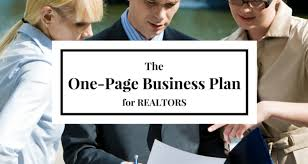 The One Page Real Estate Business Plan The Real Estate Trainer