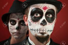 Skeleton Makeup For Halloween by Couple In Skull Makeup And For All Souls Day Stock Photo Picture