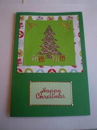 diy christmas card designs green layered card with gold tree