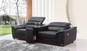 casa donovan modern black italian leather recliner sofa with wine