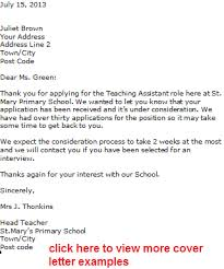 Cover Letter Teacher Examples A Template  Application