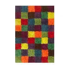 Coloured Rug Chequered Shaggy Rug Festival Multi Coloured Rug Therugshopuk