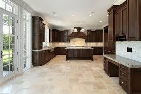 kitchen floor tile ideas with oak cabinets beige l shaped cabinet