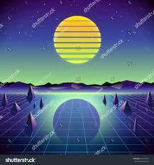 80s retro scifi background moon mountains stock vector 555797413