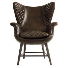 living room chairs volker industrial walnut brown leather highback living room chair