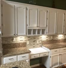 Enamel Kitchen Cabinets by Refinished Old Oak Cabinets With Fresh Coat Of Benjamin Moore