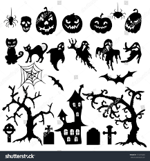 witch silhouette png set halloween silhouette on white background stock vector