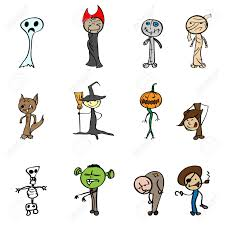 children u0027s drawings for halloween vector illustration royalty