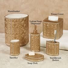 White Bathroom Accessories Set by Bathroom Destiny Ceramic Gold Bathroom Accessories Set With White