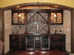 Wetbar Wet Bar With Wine Fridge Backed With Faux Brick Home
