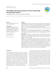 knowledge attitude and practice of tooth morphology among dental