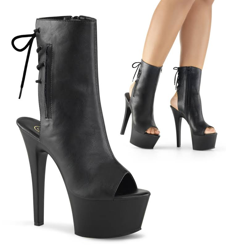 "ASPIRE-1018, 6"" Heel 2 1/4"" Platform Open Toe Ankle/Mid-Calf Boots Black Faux Leather and Black Matte /"