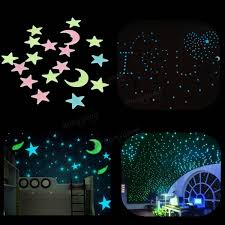 Home Parties Home Decor by 18pcs Plastic Glowing In The Dark Moon Stars Stickers Wall Art