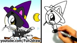 cat halloween how to draw a cat cute kitty halloween witch cat fun2draw