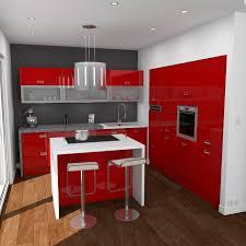 Cuisine Sans Meuble Haut by Cuisine Rouge Moderne Finition Brillante Implantation En L Avec